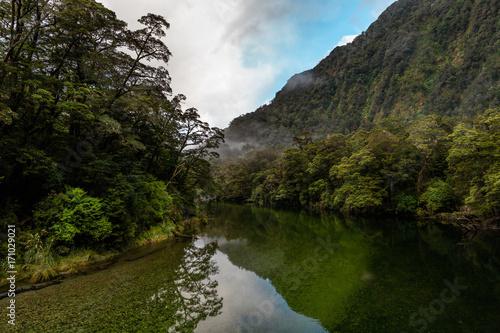 Fotobehang Bergrivier Near Glade House, Milford Track, Fiordland National Park