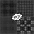 delikatne geometryczne retro wzory szary czarny zestaw na ciemnym tle - 171029635