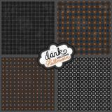 delikatne geometryczne retro wzory szary czarny pomarańczowy zestaw na ciemnym tle