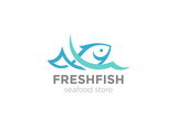 Fish in water Logo vector Seafood restaurant store Logotype icon - 171030429