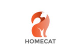Sitting Cat Logo abstract vector. Home pets Logotype icon