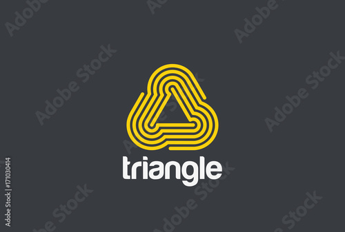 Poster Triangle looped infinite Logo vector Linear. Infinity neon icon