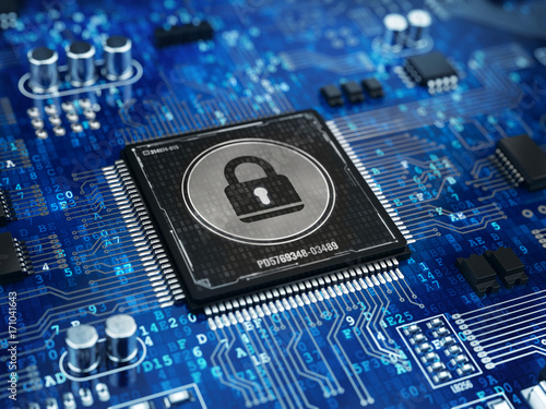 Computer security concept - Lock on computer microprocessor chip. 3d rendering