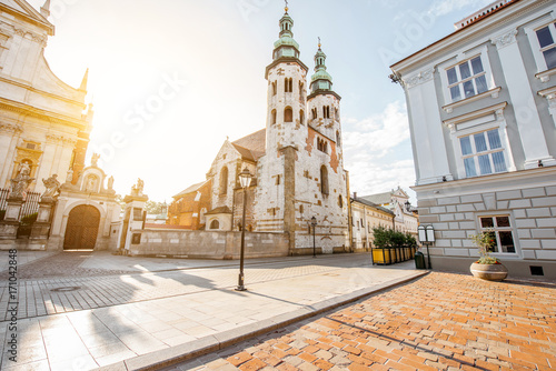 Foto op Plexiglas Krakau View on the square of Saint Mary Magdalene with saint Andrew's church in Krakow during the sunrise in Poland