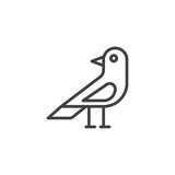 Raven bird line icon, outline vector sign, linear style pictogram isolated on white. Halloween holiday Symbol, logo illustration. Editable stroke