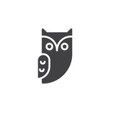 Owl icon vector, filled flat sign, solid pictogram isolated on white. Halloween holiday Symbol, logo illustration. - 171044473