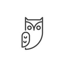 Owl Bird Line Icon Outline  Sign Linear Style Pictogram   Halloween Holiday Symbol Logo Illustration Editable Stroke Sticker