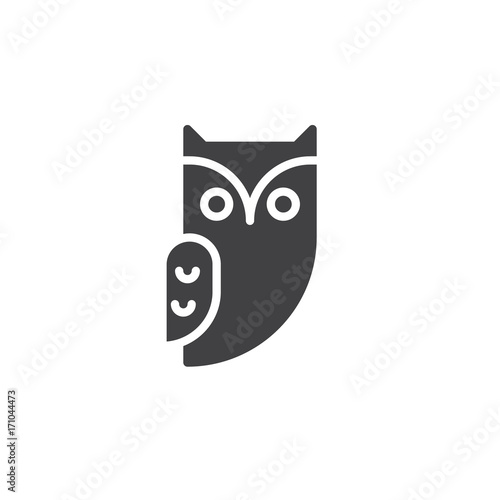 Foto op Aluminium Uilen cartoon Owl icon vector, filled flat sign, solid pictogram isolated on white. Halloween holiday Symbol, logo illustration.
