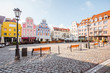 View on the Market square with beautiful colorful buildings during the morning light in Szczecin city, Poland - 171048469