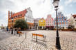 View on the Market square with beautiful colorful buildings during the morning light in Szczecin city, Poland - 171048489