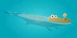 funny crocodile and bird clipart