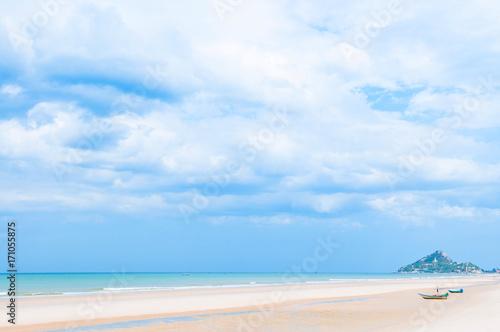 Fotobehang Thailand Summer Beach with and boats, Hua Hin, Thailand