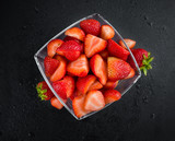Slate slab with Strawberries (Chopped)