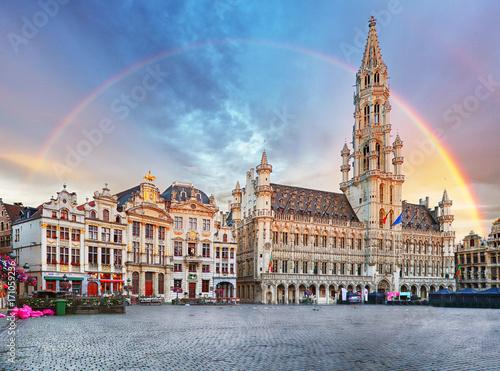 Deurstickers Brussel Brussels, rainbow over Grand Place, Belgium, nobody