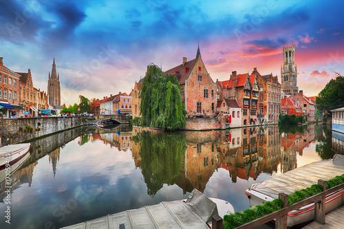 Fotobehang Brugge Bruges at dramatic sunset, Belgium