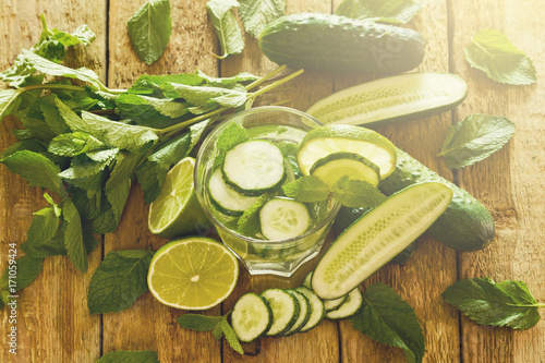 Refreshing drink with cucumber, lime and mint