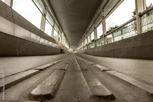 Pavement floor in footbridge for pedestrians close up Poster