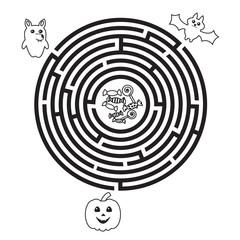 Circular Halloween maze for preschool or school kids. Funny vector labyrinth with pumpkin, wolf and bat. Vector illustration.
