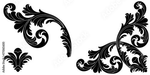 Set of vintage baroque ornament, corner. Retro pattern antique style acanthus. Decorative design element filigree calligraphy vector. - stock vector