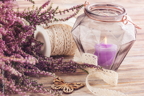 Pink heather, purple candle pot, butterfly © Irina Bort