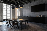 Spacious kitchen with dining room in loft flat