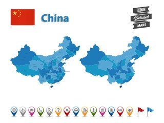 China- High Detailed Map With GPS Icon Collection