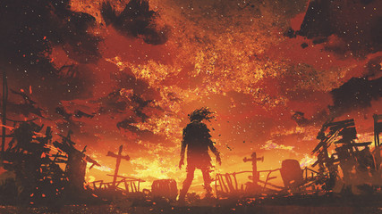 zombie walking in the burnt cemetery with burning sky, digital art style, illustration painting © grandfailure