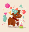 Happy smiling dog character celebrates birthday. Vector flat cartoon illustration