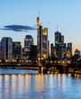 Panoramic of Frankfurt at Main skyline at night. Financial center of Germany.
