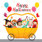 Relaxing Children Sitting On Halloween Pumpkin Cart, Mystery, Holiday, Culture, Halloween, Decoration, Fantasy, Night Party