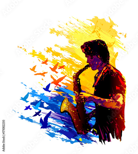 Fotobehang Muziek Saxophone player. Colorful vector illustration
