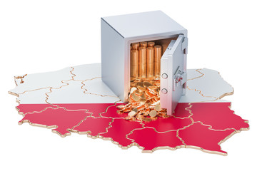 Safe box with golden coins on the map of Poland, 3D rendering