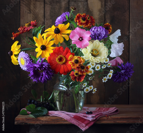 Autumn bouquet of cultivated flowers.