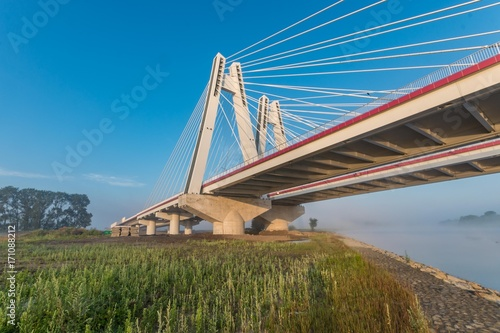 Fridge magnet Cable stayed bridge, Krakow, Poland, in the morning over Vistula river