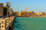 Panoramic view of Bari seafront in the background Basilica San Nicola. Apulia. - 171092456