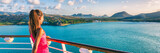 Cruise ship tourist woman Caribbean travel vacation banner. Panoramic crop of girl enjoying sunset view from boat deck leaving port of Basseterre, St. Lucia, tropical island. - 171094050