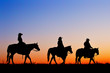 Silhouette of Cowboys and Cowgirls