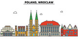 Poland, Wroclaw. City skyline: architecture, buildings, streets, silhouette, landscape, panorama, landmarks. Editable strokes. Flat design line vector illustration concept. Isolated icons