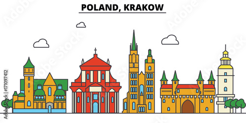 Poland, Krakow. City skyline: architecture, buildings, streets, silhouette, landscape, panorama, landmarks. Editable strokes. Flat design line vector illustration concept. Isolated icons