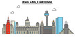 England, Liverpool. City skyline: architecture, buildings, streets, silhouette, landscape, panorama, landmarks. Editable strokes. Flat design line vector illustration concept. Isolated icons