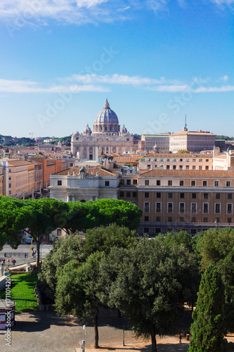 cityscape of Rome with St. Peter's cathedral, Italy Poster