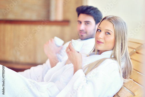 Aluminium Spa Beautiful couple relaxing together at spa centre after a beauty treatment