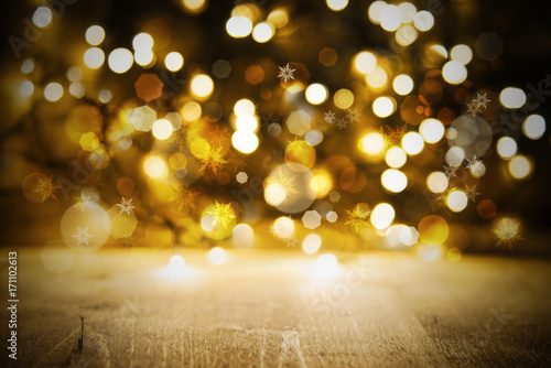 Christmas Golden Lights Background, Party Or Celebration Texture With Wood плакат