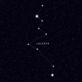 Sky Map with the name of the stars and constellations. Astronomical symbol constellation Lacerta