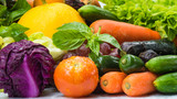 Various fresh fruits and vegetables for eating healthy and washed