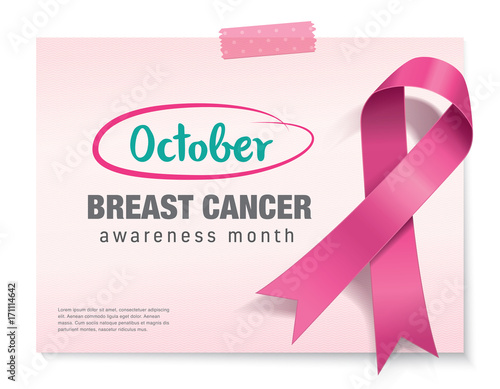 Breast Cancer Awareness Month Poster Design With Pink Ribbon Buy