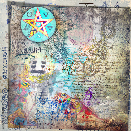 Papiers peints Imagination Carte,collage,schizzi,disegni e manoscritti esoterici,astrologici,alchemici e misteriosi