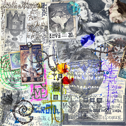 Fotobehang Graffiti Manoscritti alchemici e misteriosi con graffiti,schizzi,disegni e simboli esoterici,astrologici e alchemici