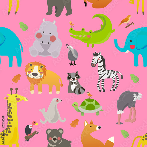 Sticker Illustration drawing style set of animal