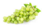 Green grape with leaves isolated on white background. Studio shot